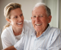 Image of elderly man and his daughter